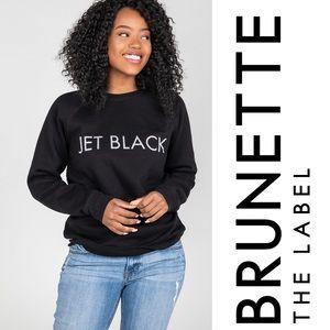 NWT Brunette the Label Glitter Jet Black Sweater